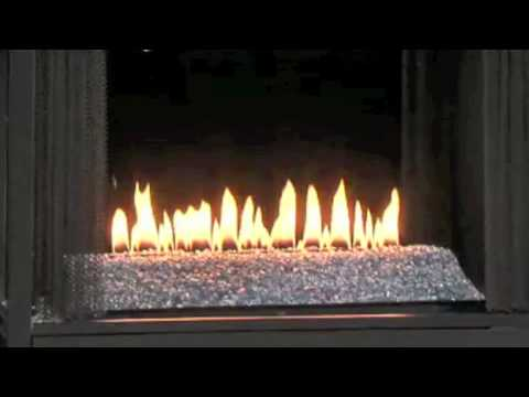 Ventless Gas Fireplace with Flame, with Fire Glass and See-Through Vent-Free Gas Fires