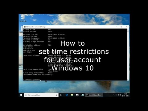 How to set time restrictions for user account Windows 10