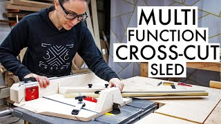SMALL Cross-Cut Sled with ADJUSTABLE Fence, EXTENSION wing and BEVEL Feature!
