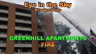 Greenhill Apartments *FIRE* from 75 FT Up from Eye in the Sky!