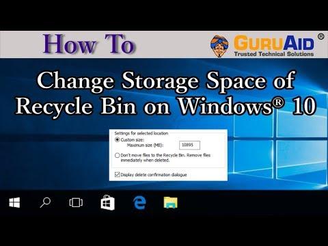 How to Change Storage Space of Recycle Bin on Windows® 10 - GuruAid
