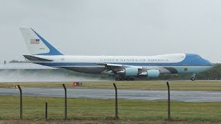 AIR FORCE ONE Departs Prestwick Airport July 2018   USAF Boeing VC25A   President Trump UK Visit