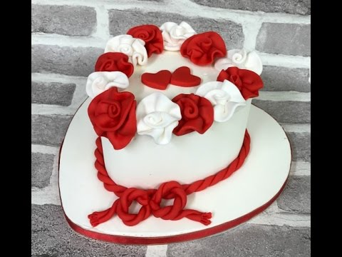 RED & WHITE ROSES birthday cake
