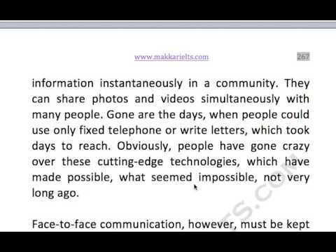 266  Modern communication technology has taken away ability of face to face interaction