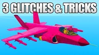 GTA 5 Online - 3 NEW GLITCHES & TRICKS! (Hydra Super Speed, Instant Hangar Cargo & Invisible Player)
