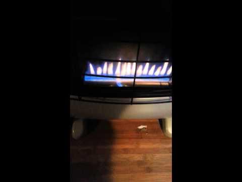 Orange flame on cedar ridge propane heater