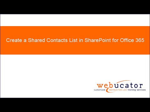 Create a Shared Contacts List in SharePoint for Office 365