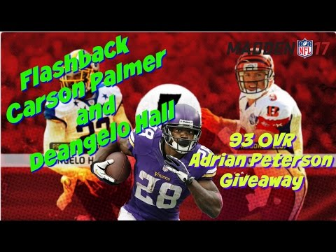 Madden 17 Flashback Carson Palmer and Deangelo Hall 93 OVR Ghost of Madden Adrian Peterson Giveaway