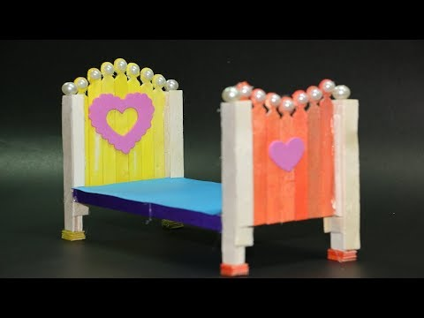DIY- HOW TO MAKE DOLL BED WITH POPSICLE STICKS