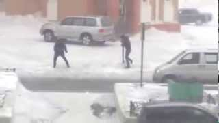 Extreme winds literally blow people over in Norilsk, Russia