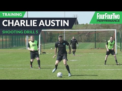 Charlie Austin's striker school   How to improve link up play   Soccer shooting drill