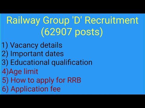 Railway group 'D' Recruitment 62907 posts.