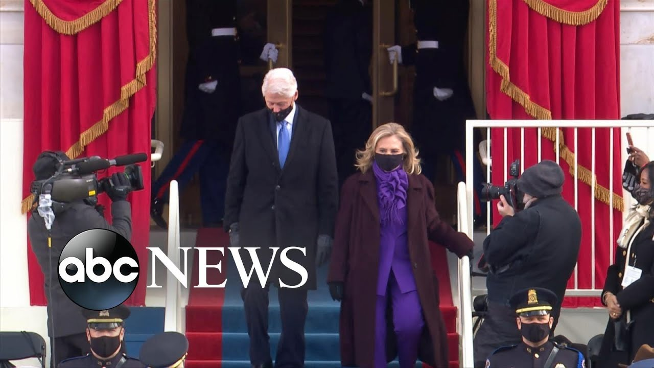 Former Presidents Clinton, Bush and Obama arrive at inauguration