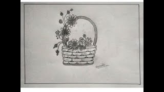How To Draw Flower Basket Step By Step