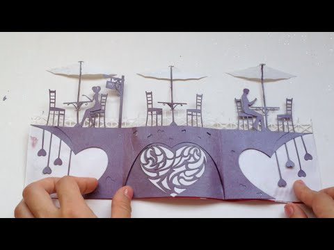 Love Story Card, Valentine Kirigami Tutorial   Free Pattern