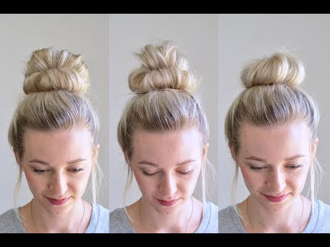 3 Messy Bun Top Knots: Using No Bobby Pins | Q's Hairdos | Tessi's Hairstyle