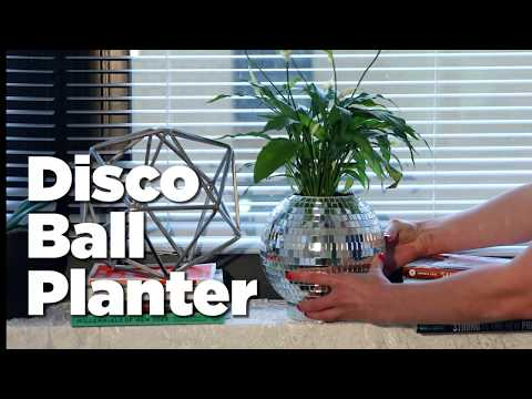 Slice Into An Old Disco Ball And Remove The Top To Craft This One-Of-A-Kind Retro Planter