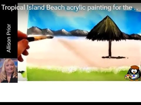 Tropical Island Beach acrylic painting for the absolute beginner 15 minute painting step by step