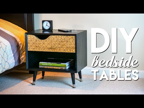 DIY Mid-Century Modern Bedside Table / Nightstand with Ebonized Oak | How To Build - Woodworking