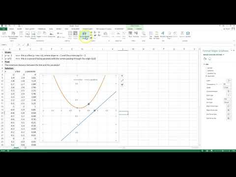 Finding the minimum distance between two curves using Excel