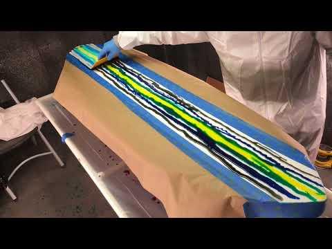 Resin foam stain surfboard art