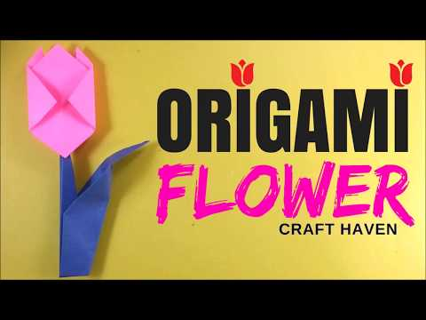 How To Make Easy Origami Flower - Origami Tutorial for Beginners - Origami Tulip Paper Flower - DIY