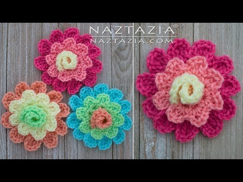 How to Crochet a Blooming Flower - DIY Tutorial - Easy to Change Colors Rose Roses Flowers
