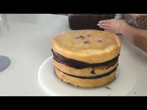 Stacking a double barrel cake
