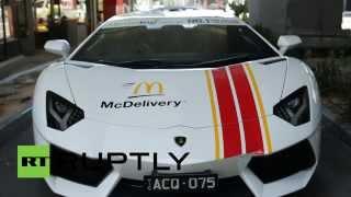 Fast Furious Food: Lamborghini & Ferrari F430 Spider deliver Aussie McDonald's