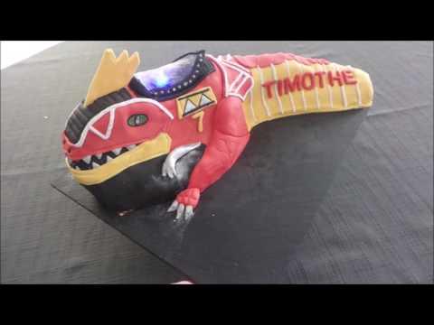 T-Rex power rangers cake