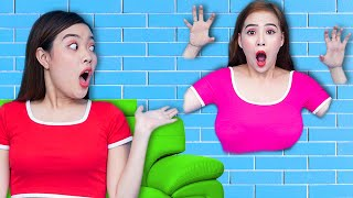 JUMP through the WALL | Funny Scare Pranks with JUMP through the HOLE IN THE WALL Challenge