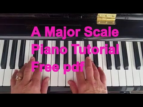 A Major Scale Arpeggio Piano Keyboard Video Tutorial Teaches Fingerings and Key Signature