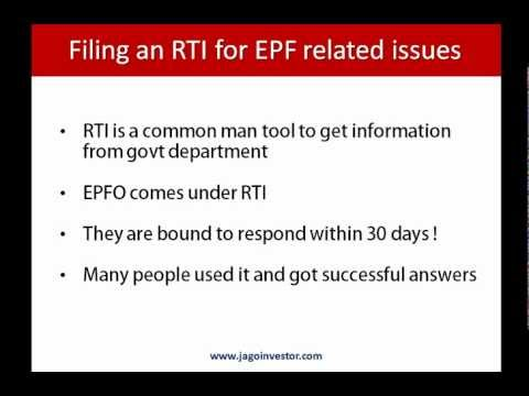 How to file RTI for EPF (Employee Providend Fund) Withdrawal or Transfer Issues