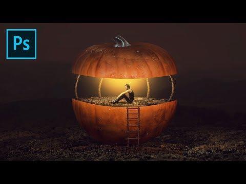 Pumpkin House Photoshop Manipulation Tutorial Processing