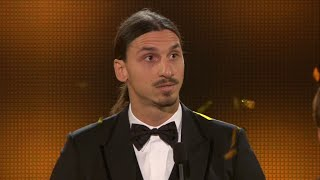 Ibrahimovic in tears while giving a speech about two Swedish footballers and brother who passed away