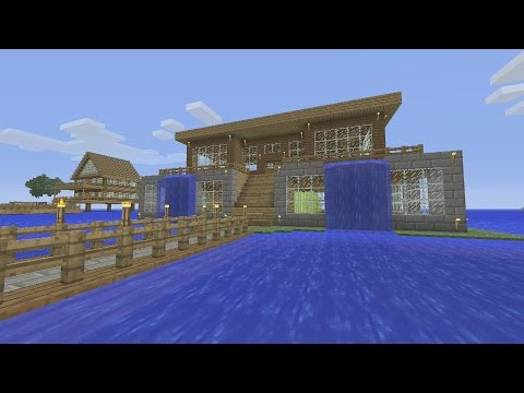 Minecraft Tutorial: How To Make An Awesome Waterfall Survival House. (ASH#7)