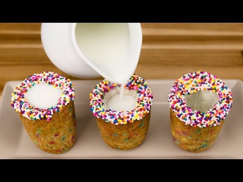 Milk and Cookie Shots with Rainbow Chocolate Chips from Cookies Cupcakes and Cardio