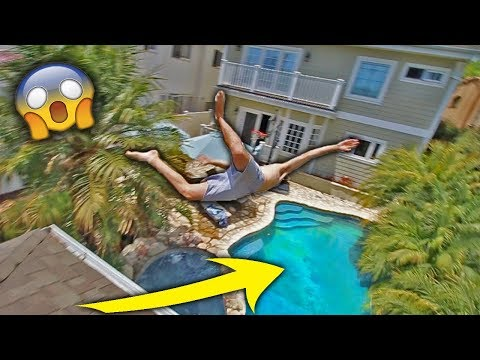 EPIC ROOF JUMP FAIL *FRONT FLIP INTO POOL