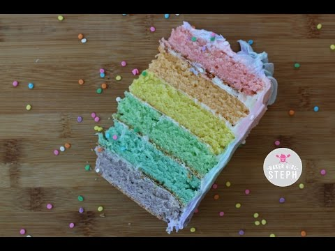 HOW TO MAKE A PASTEL RAINBOW CAKE WITH OMBRE FROSTING || BAKER GIRL STEPH