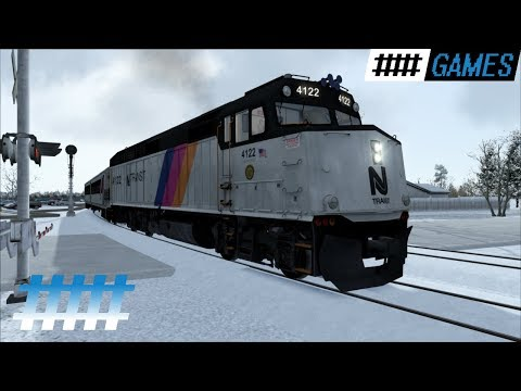 Train Simulator Cab Ride NJT F40PH-2CAT in Snow From Bay Head Jct. to Spring Lake Station