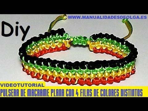 2966c7e61850 COMO HACER UNA PULSERA DE CUATRO LINEAS PARALELAS DE 4 COLORES DE ...