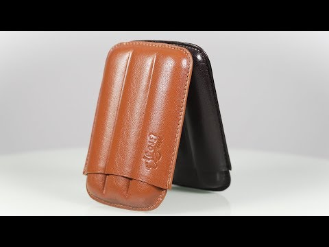 Creased Leather Cigar Case - Authentic Full Grade Buffalo Hide Leather (Multiple Colors)