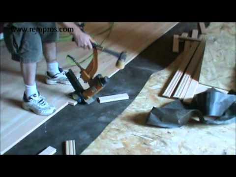How to install hardwood floor. Staple down type of installation.
