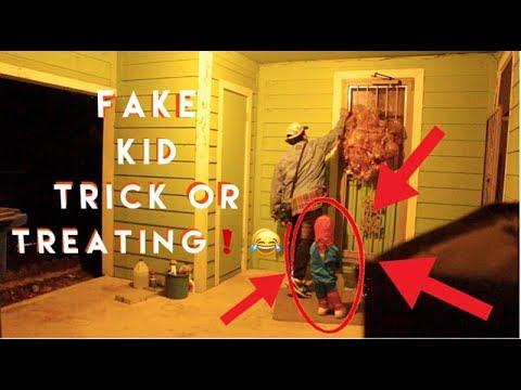 FAKE KID TRICK OR TREATING PRANK !   GONE WRONG ! ! ( GOT CAUGHT)