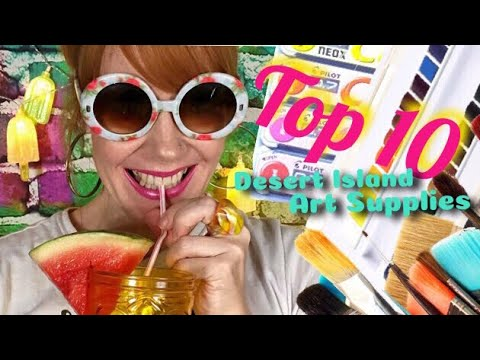 🏝Top 10 DESERT ISLAND ART SUPPLIES! 🏝🍉 Drawing and Painting