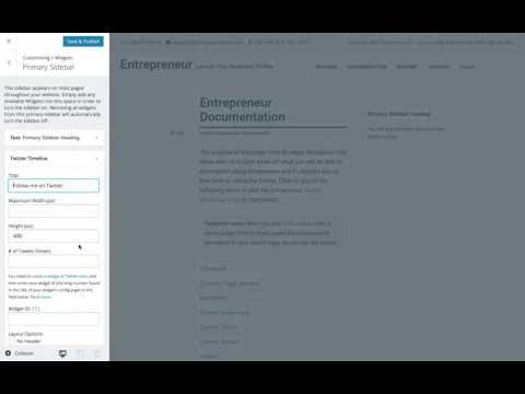 Entrepreneur WordPress Theme: Setting Widgets (Step 7)