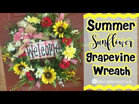 🌻🌞Summer Sunflower Grapevine Wreath // 🌻🌞Summer Door Wreath // Easy DIY