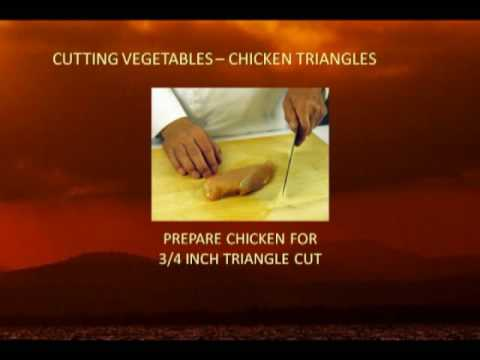 Cut chicken meat into strips and triangle shape method