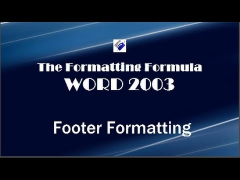 Word 2003   Footer Formatting - Add a separation line & field code