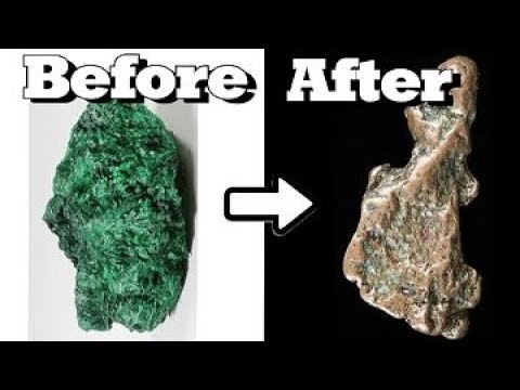 HOW TO MAKE COPPER !!! From Green Rocks.
